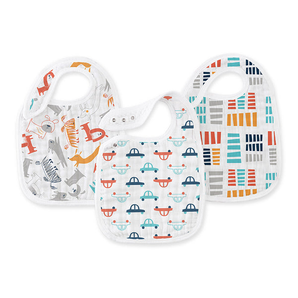 Aden and Anais Classic Snap Bibs Zutano Pup In Tow 3Pk