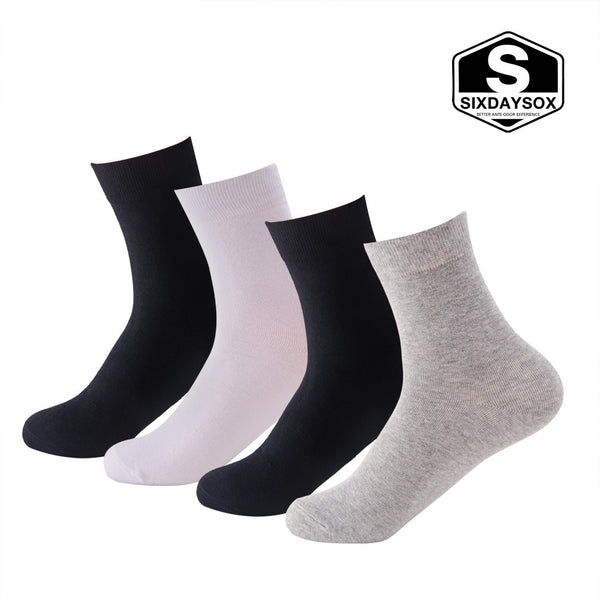 SIXDAYSOX Mixed Color Deodorant Socks, 4 Pack