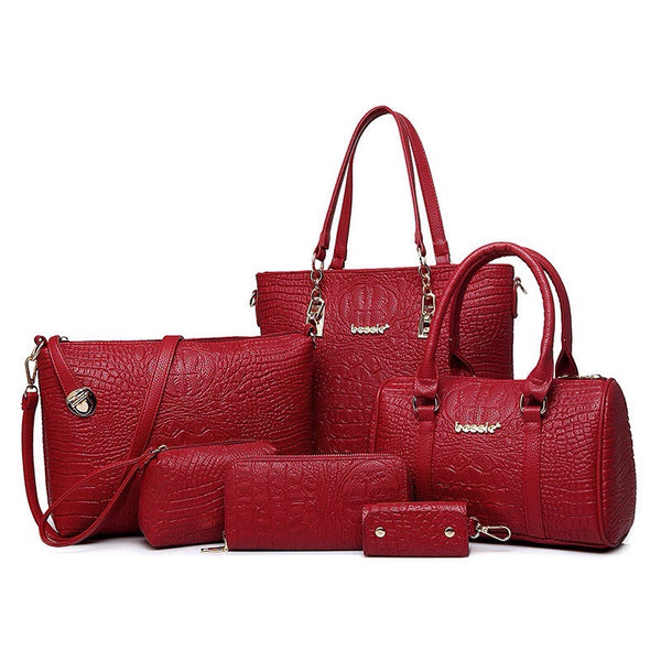 Red solid leather handbag - Monroe Apparel