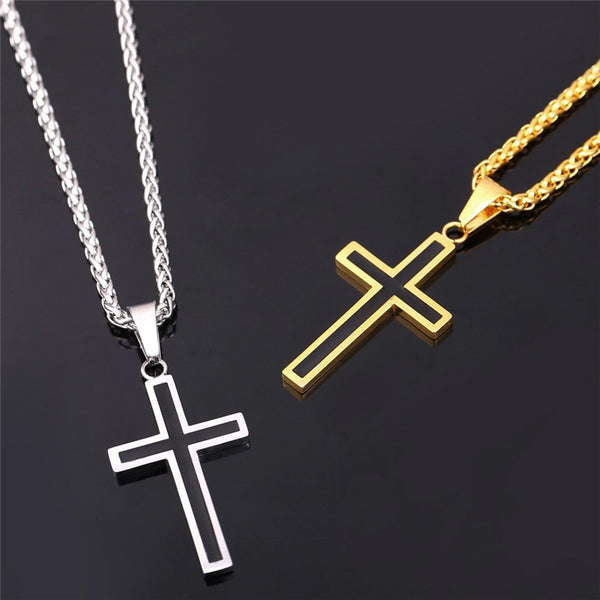 Stainless Steel Cross Pendant & Necklace - Monroe Apparel
