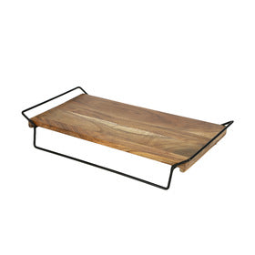 Acacia Tray on Elevated Stand 28x50cm (KM)