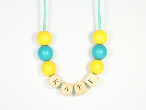 Houten kralenketting Yellow & Bluegreen - WauwPauw
