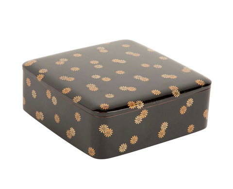 Ryoshibako Document Box of Black Lacquer with Gold Chrysanthemum Decoration
