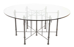 Giacometti Style Patinated Iron Glass Top Dining Table