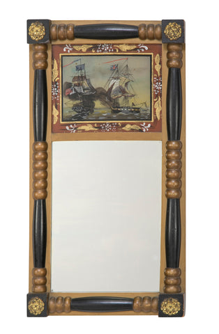 American Federal Mirror with Eglomise Panel of a Maritime Scene from the War of 1812