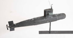Very Unusual Copper Submarine Weathervane in Black Paint & Verdigris Finish