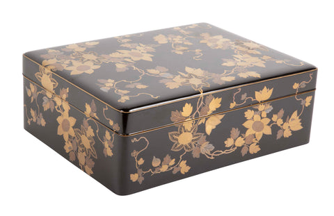 Large Japanese Black Lacquer Box with Gilt Vine Design