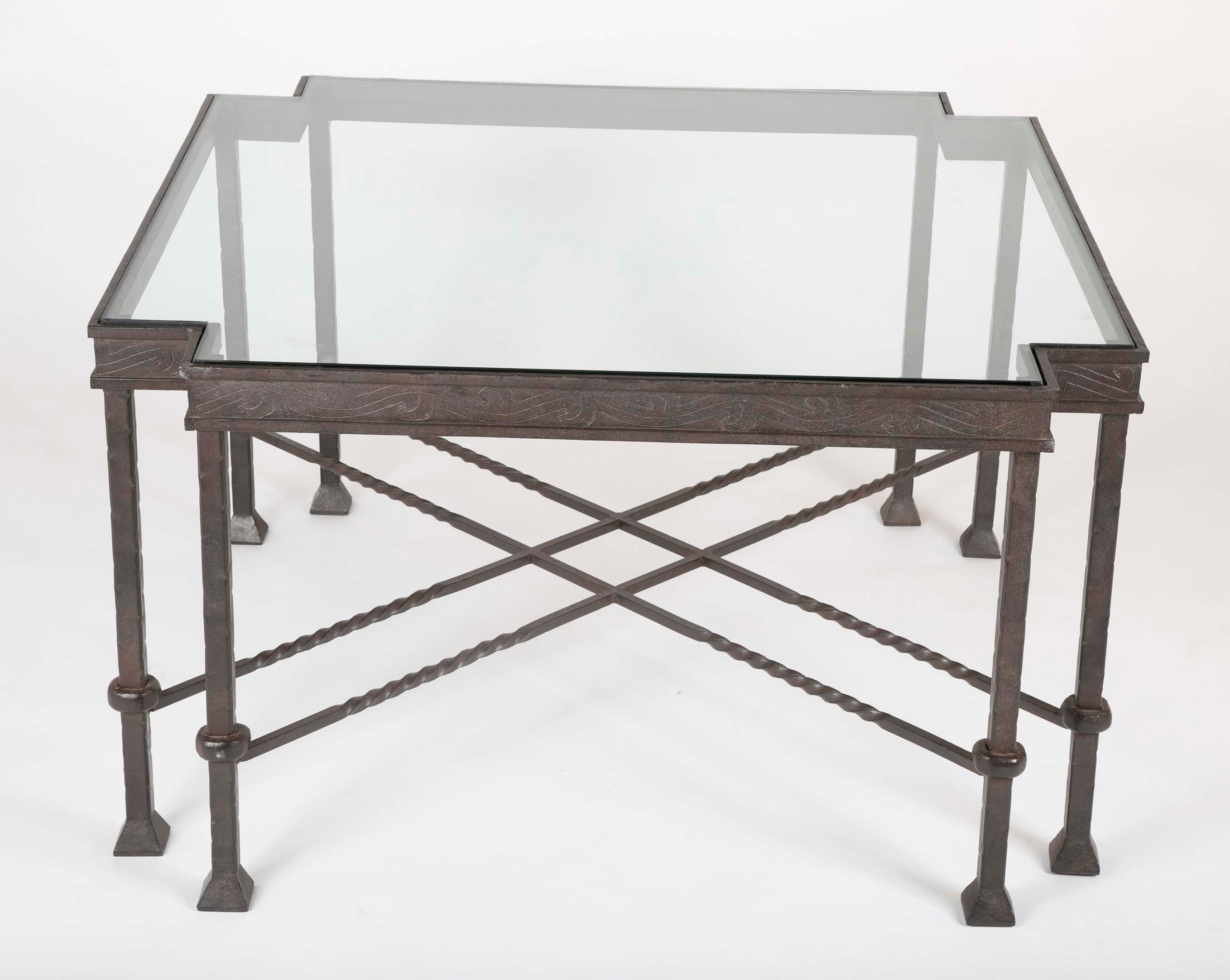 Late Mid Century Glass Top Wrought Iron Coffee Table Avery Dash Collections
