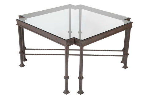 Late Mid-Century Glass Top Wrought Iron Coffee Table