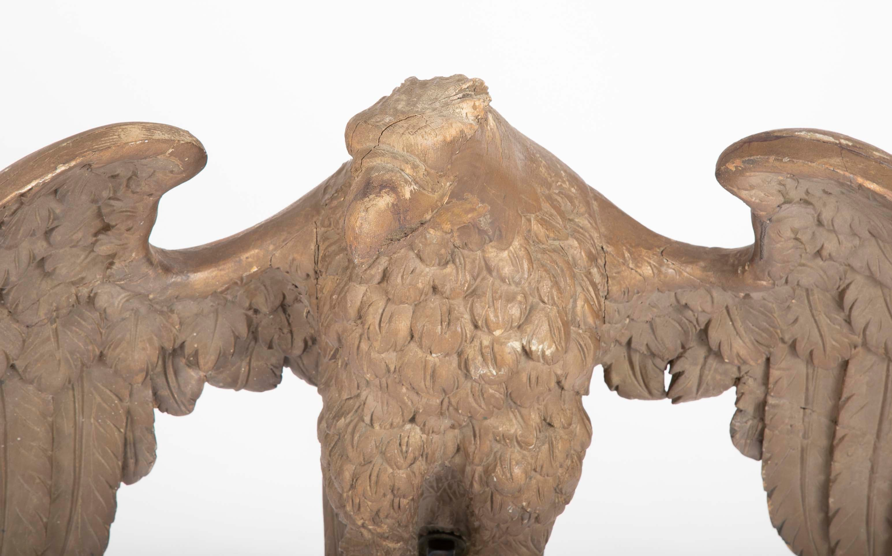 19th Century New England Carved Wood Eagle