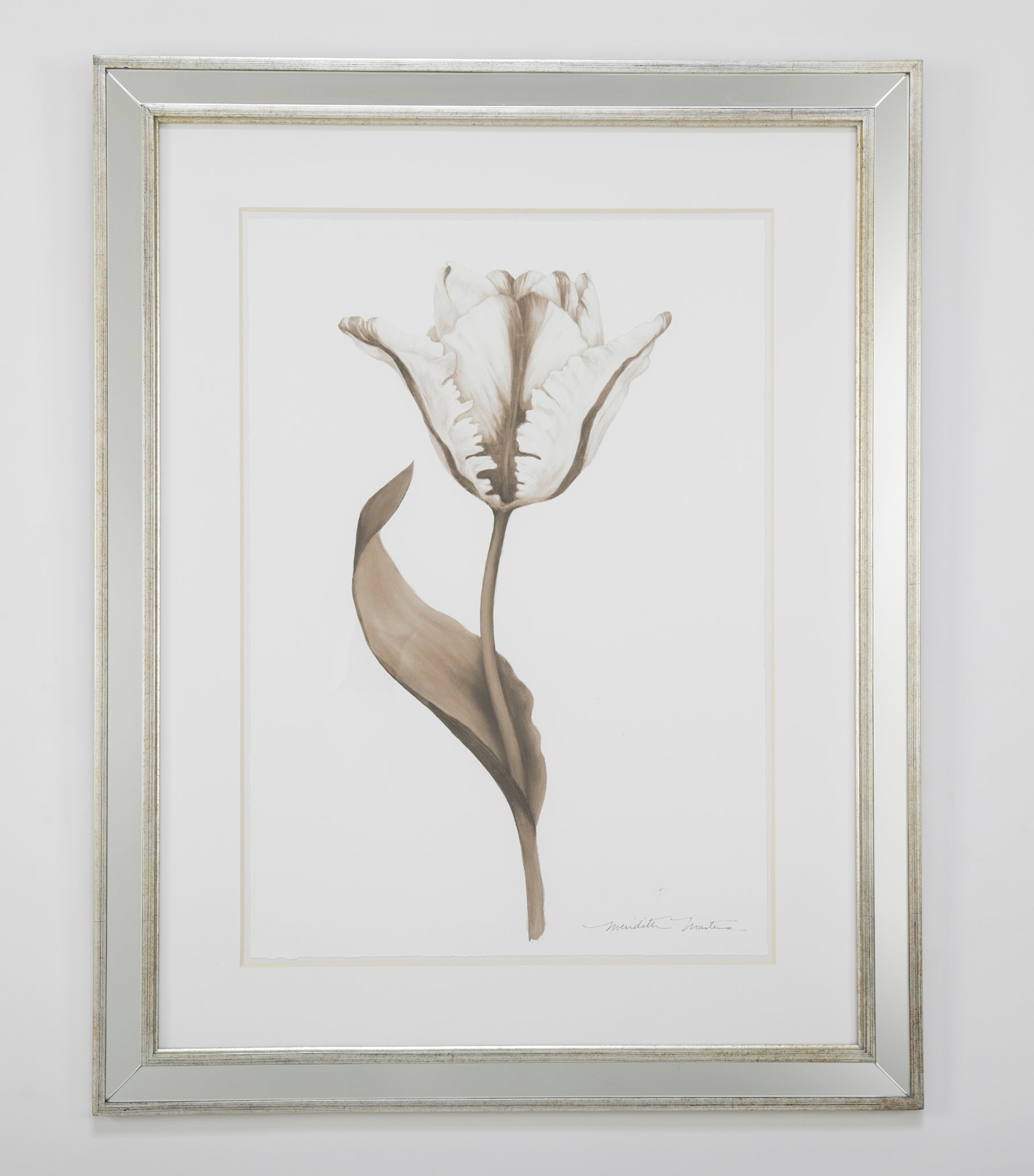 Pair of Ink Wash Drawings Depicting Tulips by Meredith Masters