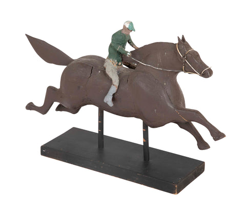 Very Folksy Jockey & Horse Sculpture in  Wood & Papier Mache