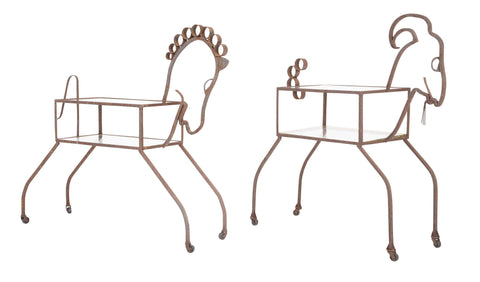 Unique Pair of Wrought Iron Side Tables in Goat & Horse Forms