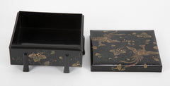 A Six Footed Japanese Black & Gold Lacquered Box