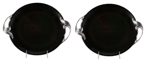 Pair of Bakelite Trays with Wrought Aluminum Foliate Form Handles