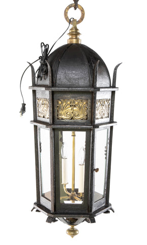 American Wrought Iron and Bronze Lantern Probably by E. F. Caldwell