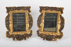 Pair of Unusual 18th Century Brass & Silver Mirror Sconces