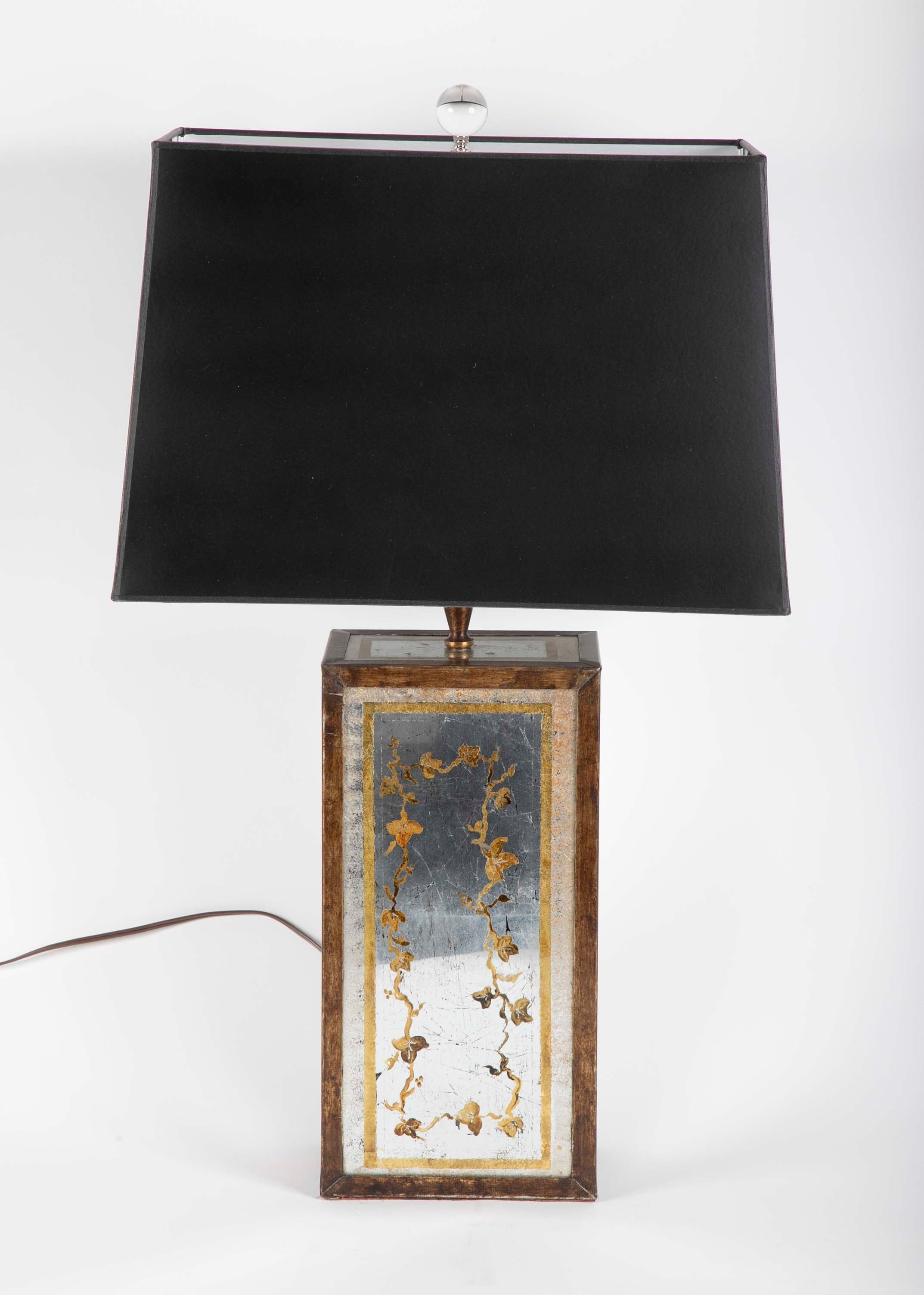 Pair of French Rectangular Eglomise Lamps
