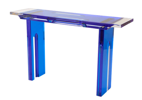 Unique Contemporary Lucite Console Table in Cobalt and Clear Lucite