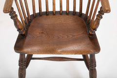Assembled Set of 8 English Elm Windsor Armchairs