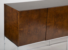 A Four Door Burled Wood Sideboard on Chrome Base by Milo Baughman