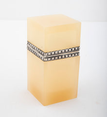 Butterscotch Opaline Glass Box with Silvered Bronze Mounts