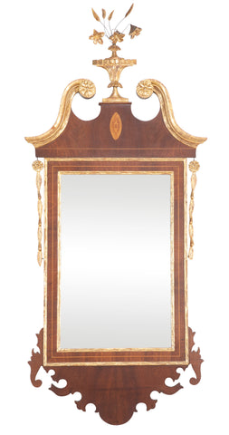 An American Federal Scroll Top Mirror with Original Plate