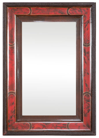 Faux Tortoiseshell Queen Anne Style Mirror with Segmented Border
