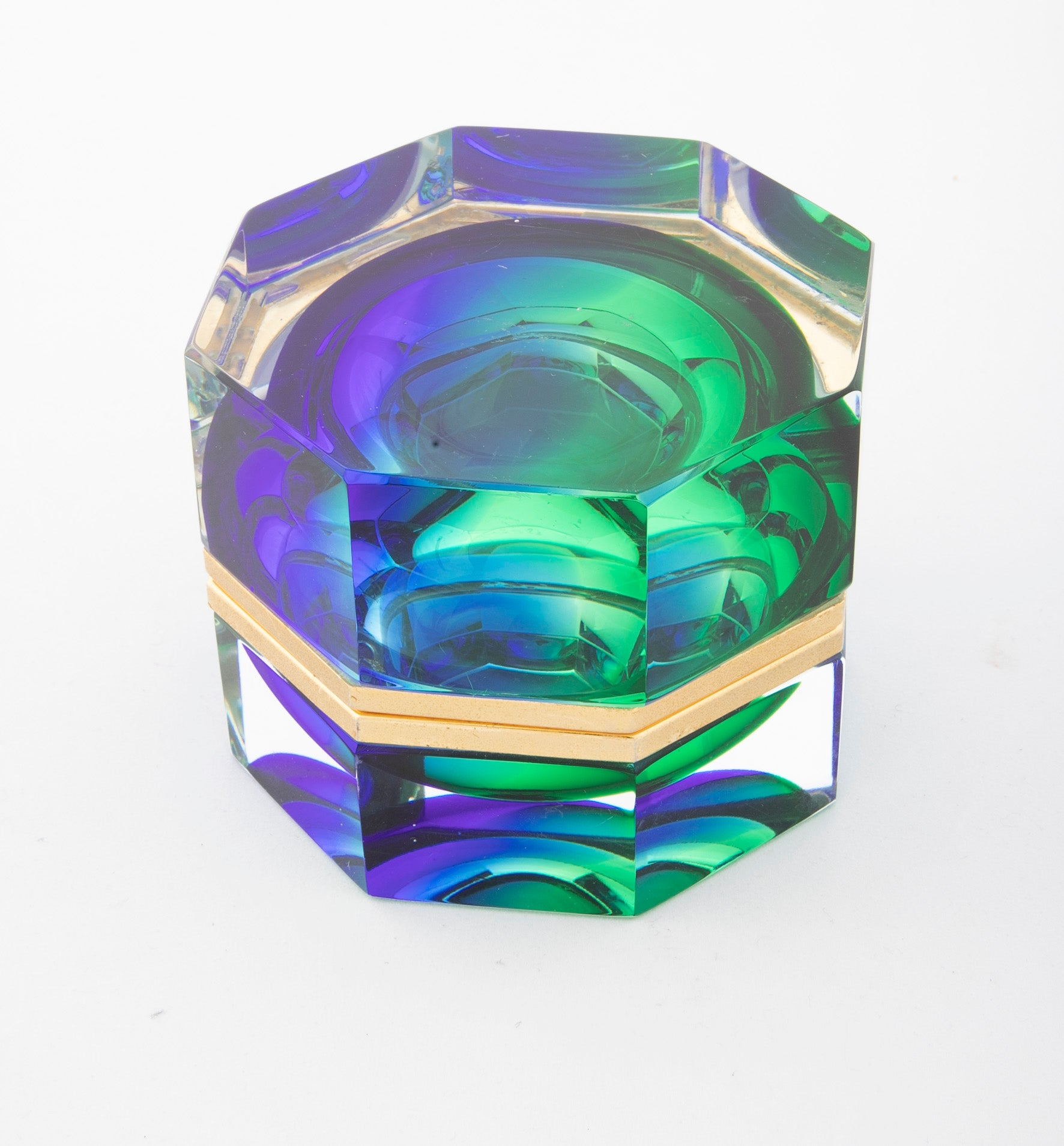 Mid-Century Murano Sommerso Octagonal Glass Box Rare Blue to Green to Clear