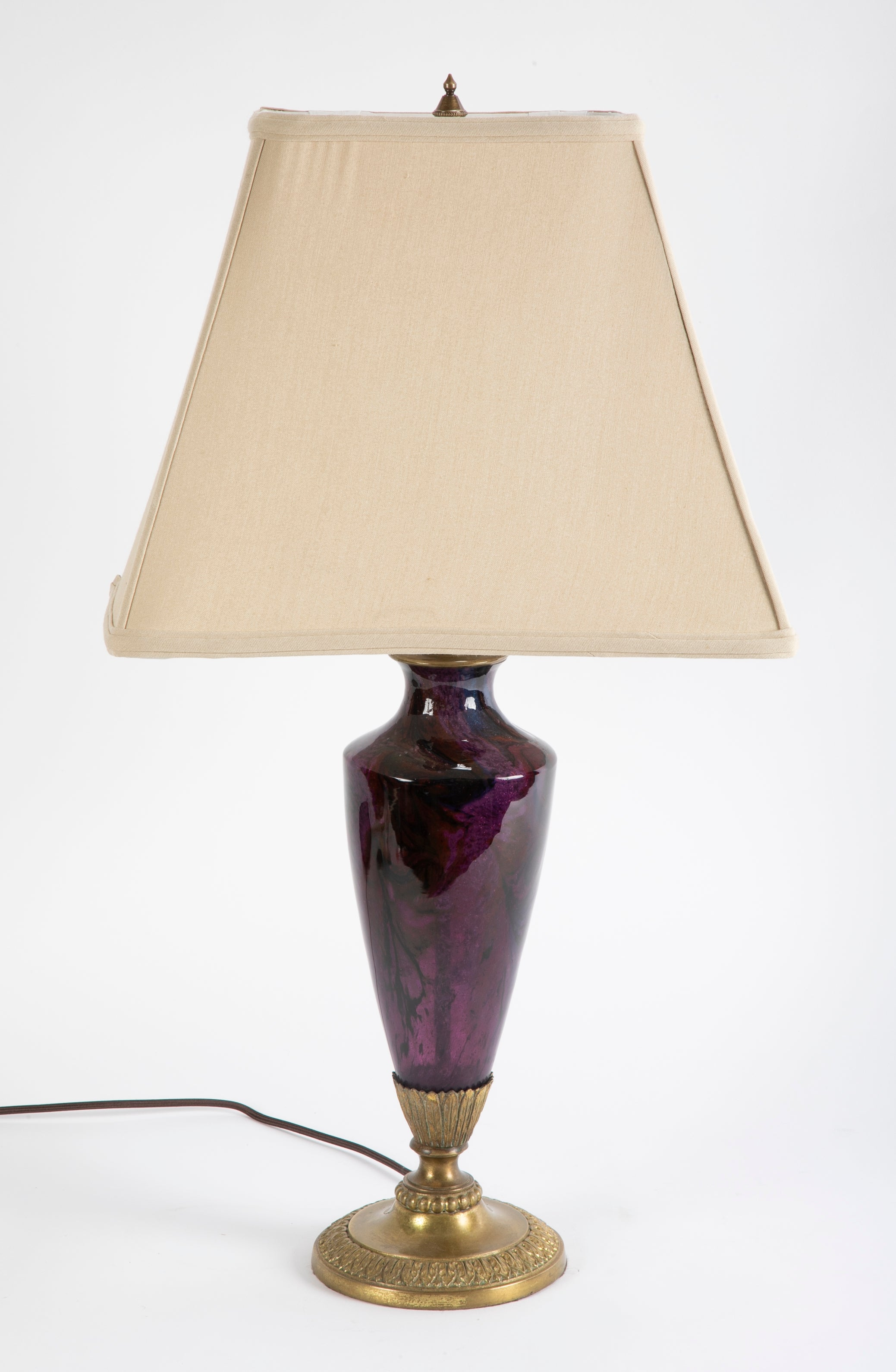 Steuben Moss Agate Glass Table Lamp