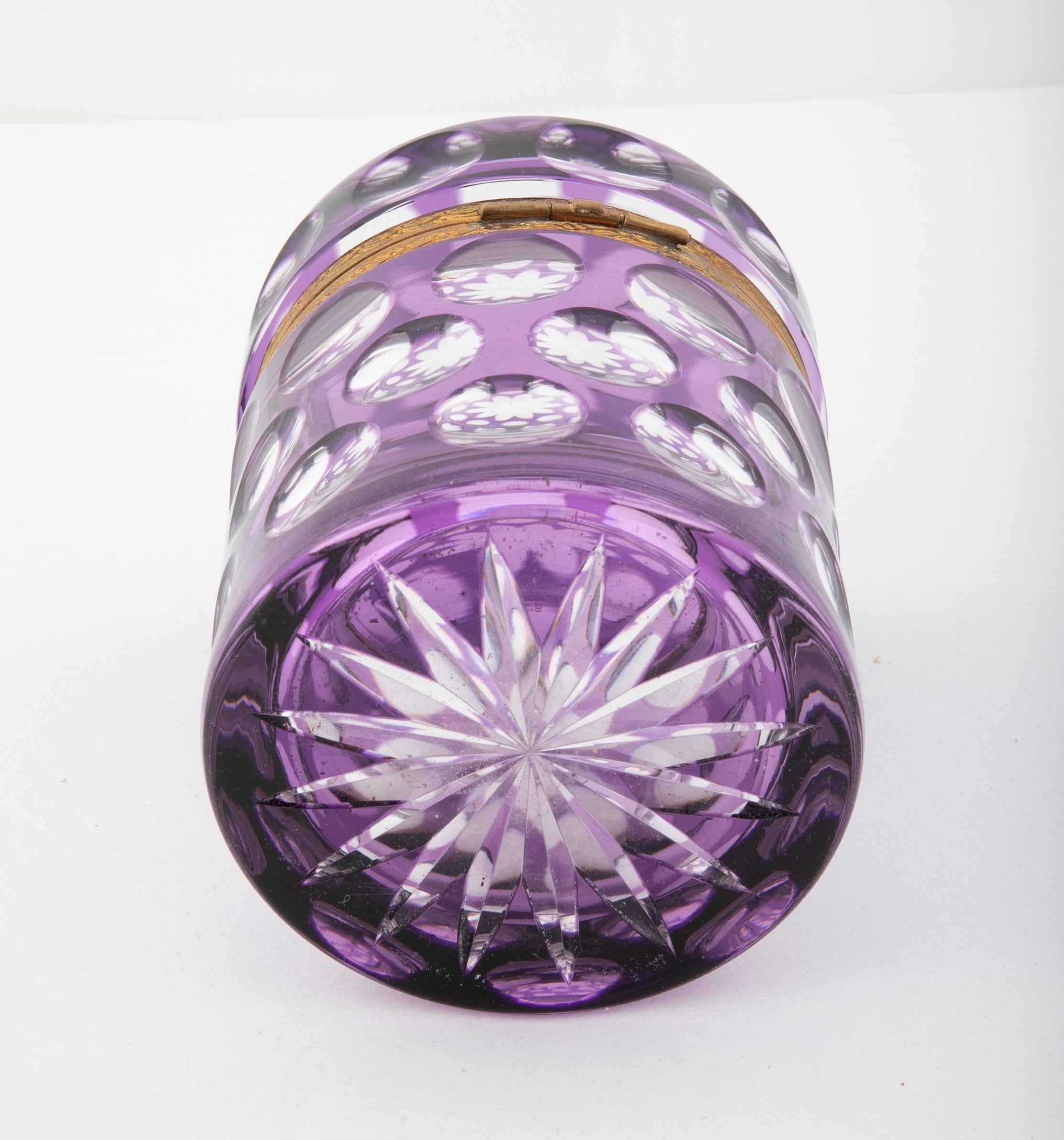 Early 20th Century Amethyst Cut to Clear Glass Cylindrical Box