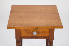 American Small One Drawer Tiger Maple Stand
