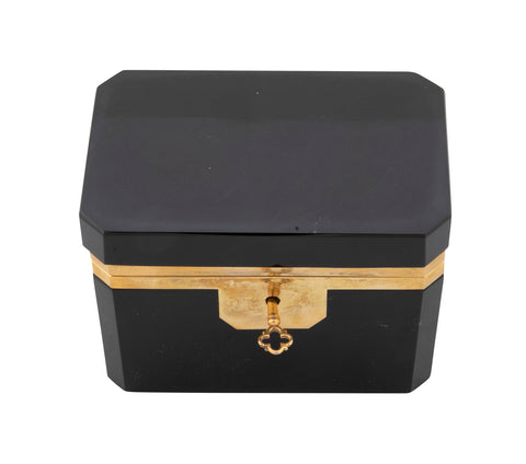 French Black Opaline Glass Box with Key and Bronze Mounts