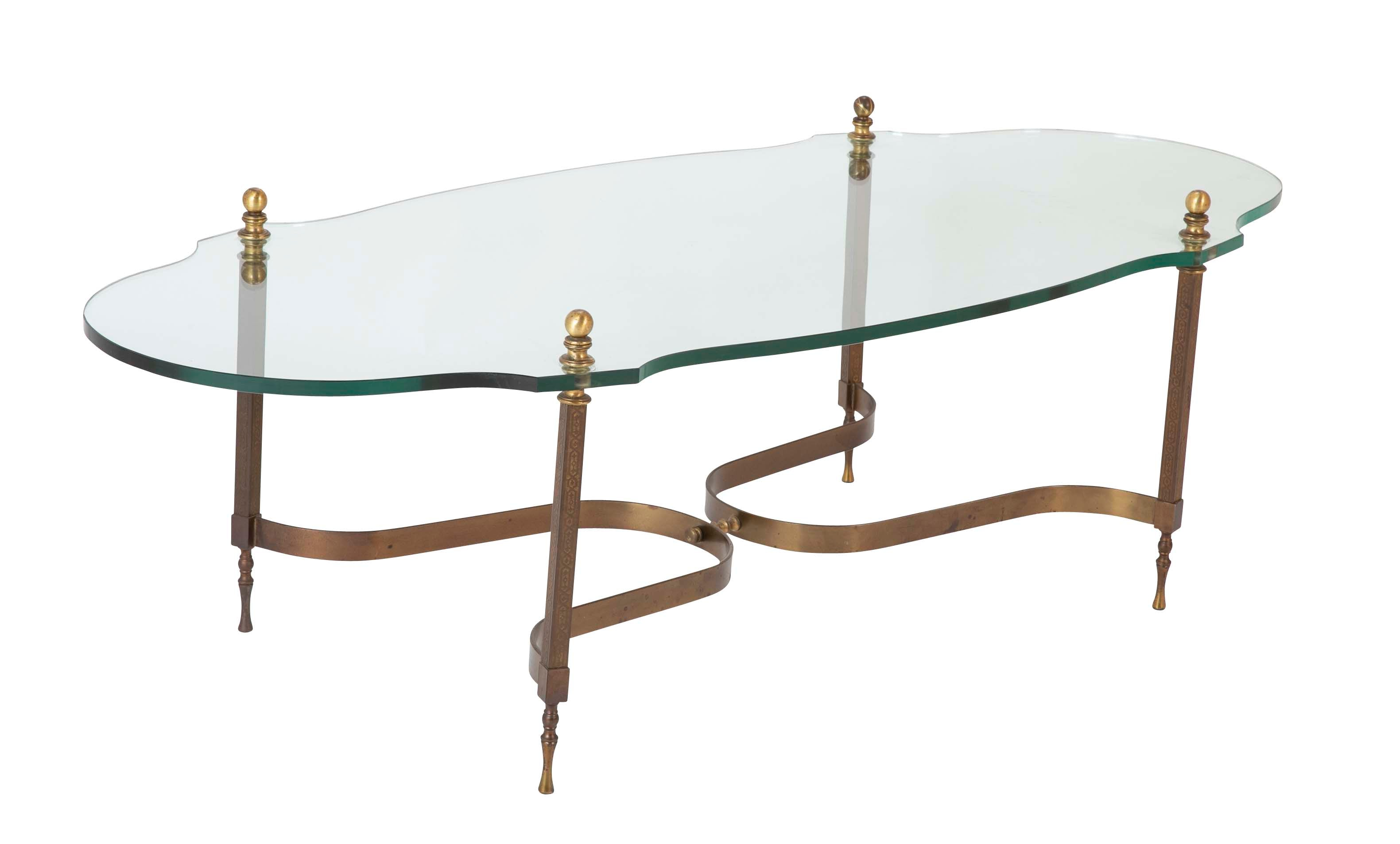 Italian Glass Coffee Table.Mid Century Modern Italian Bronze And Glass Coffee Table