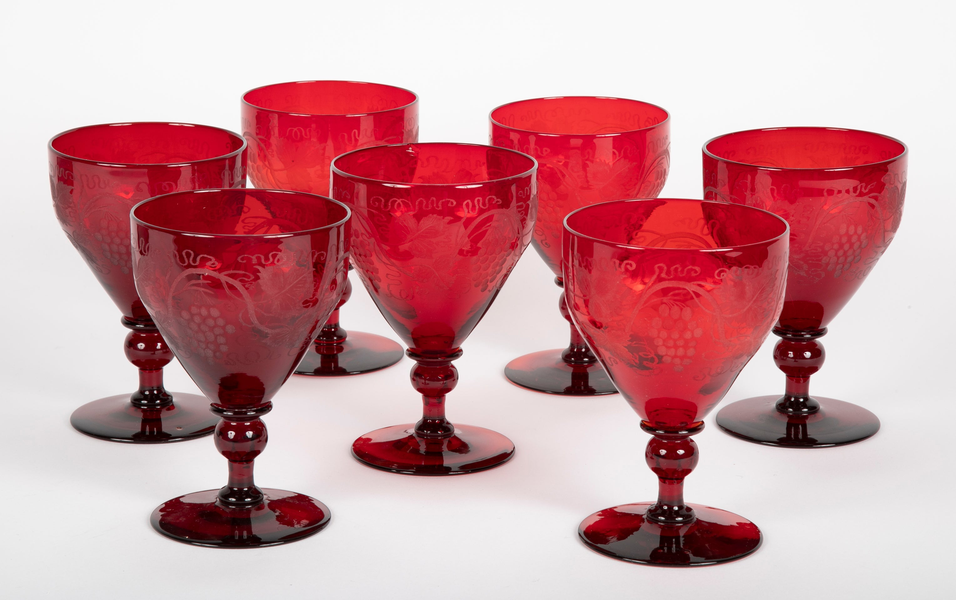 Set of Seven Red Steuben Goblets