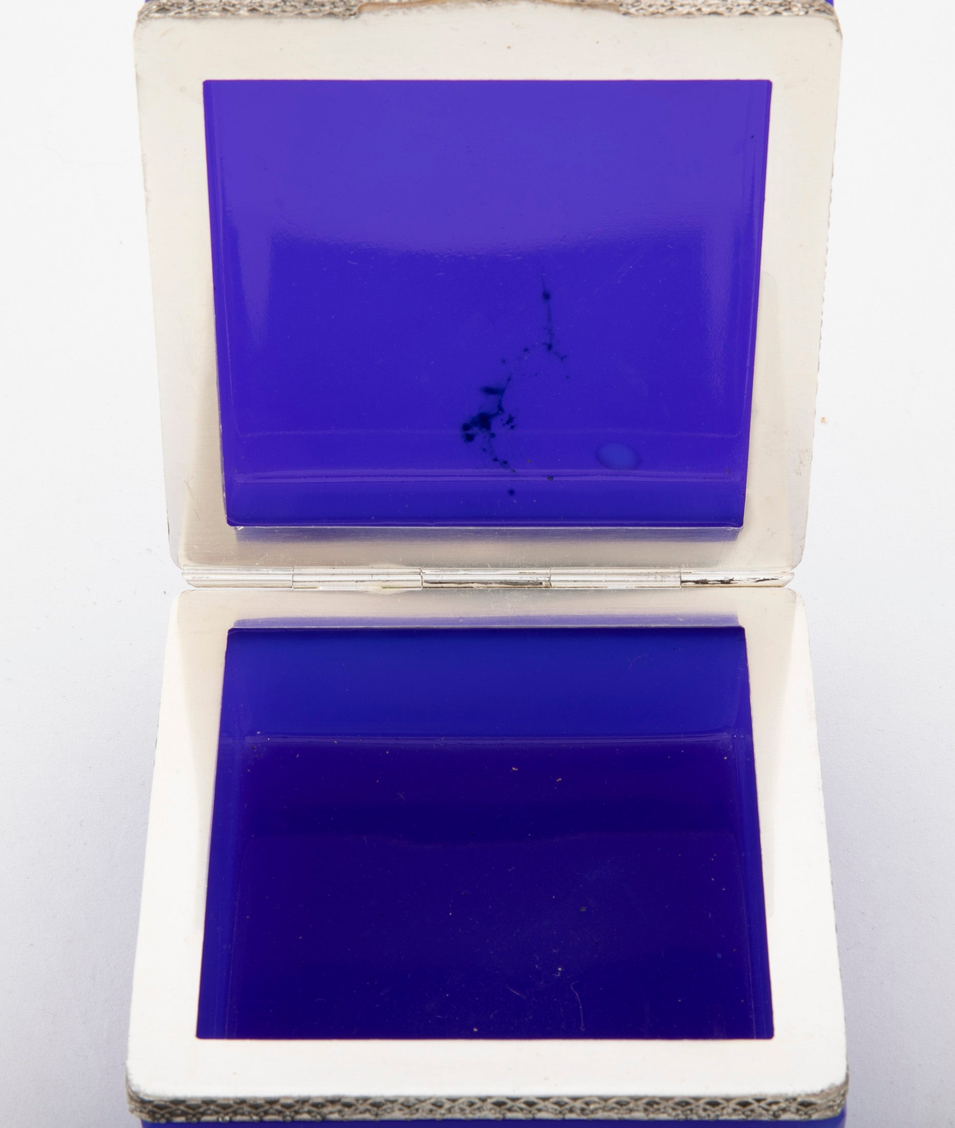 Brilliant Blue Opaline Glass Box with Silvered Bronze Mounts