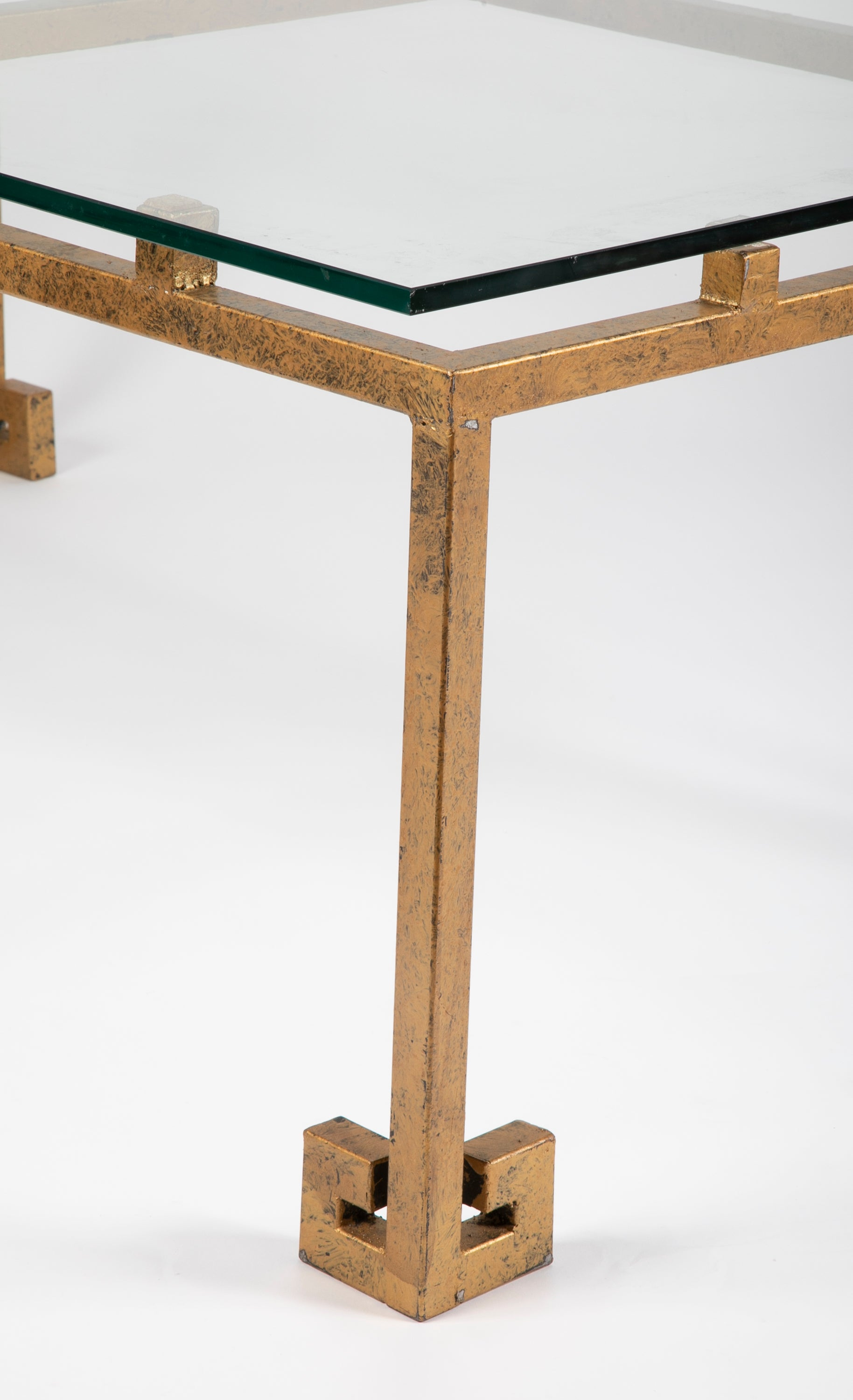 MId-Century Patinated Metal Greek Key Form Low Table
