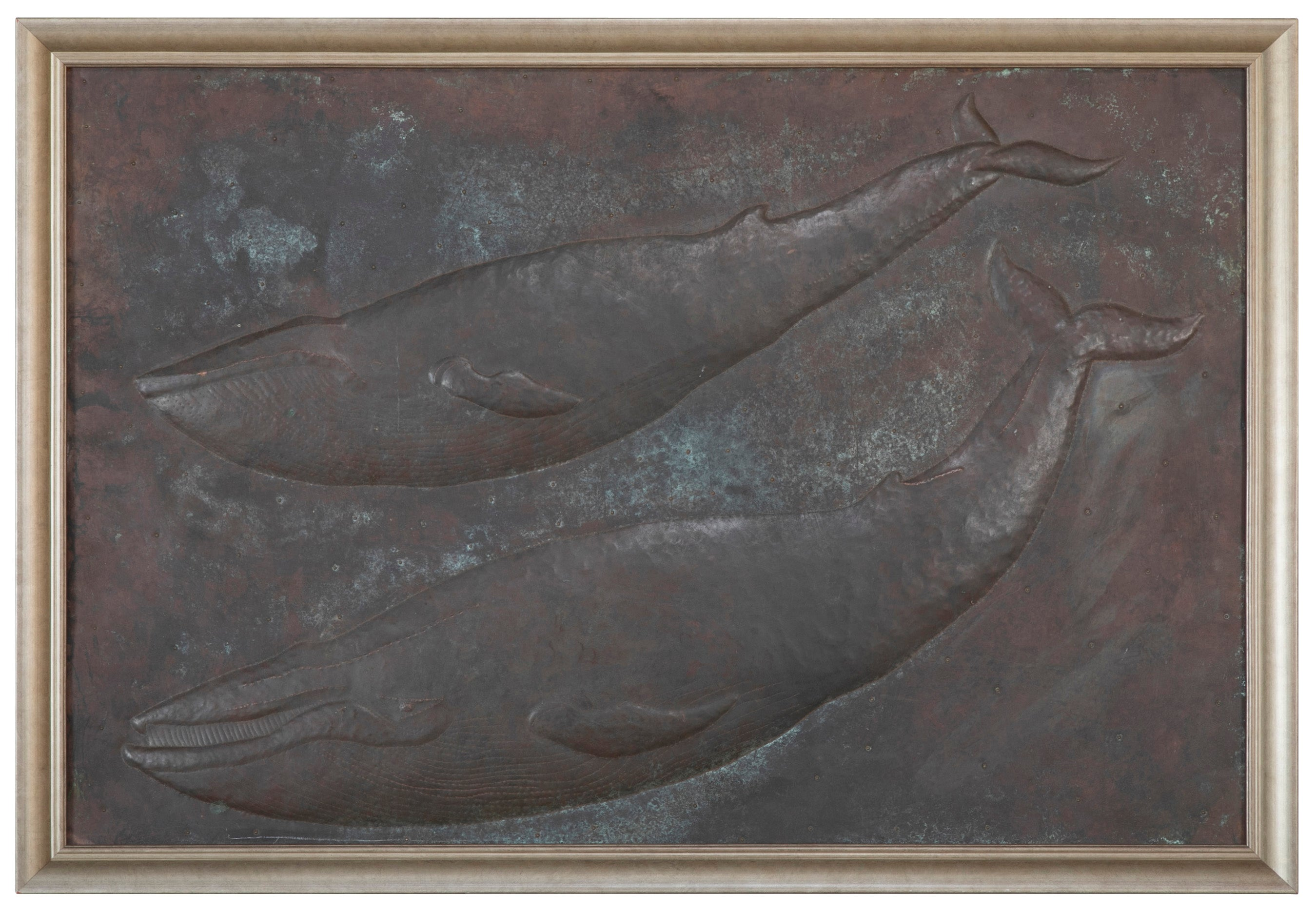 Copper Repousse Plaque of 2 Baleen Whales