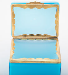 A Mid-Century Murano Turquoise Cased to White Opaline Glass Box