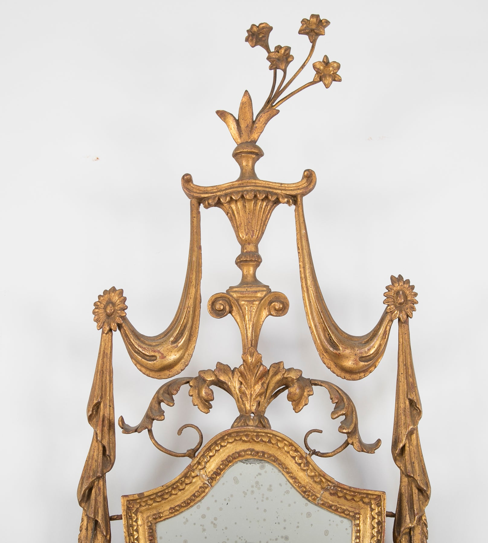George III Shield Form Mirrored Gilt Wood Sconce
