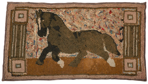 19th Century Hooked Rug of a Trotting Horse