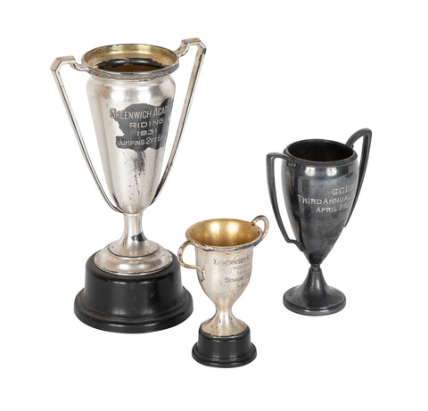 Early 20th Century Set of Three Trophies for Greenwich Academy & GCDS Riding & Pet Shows