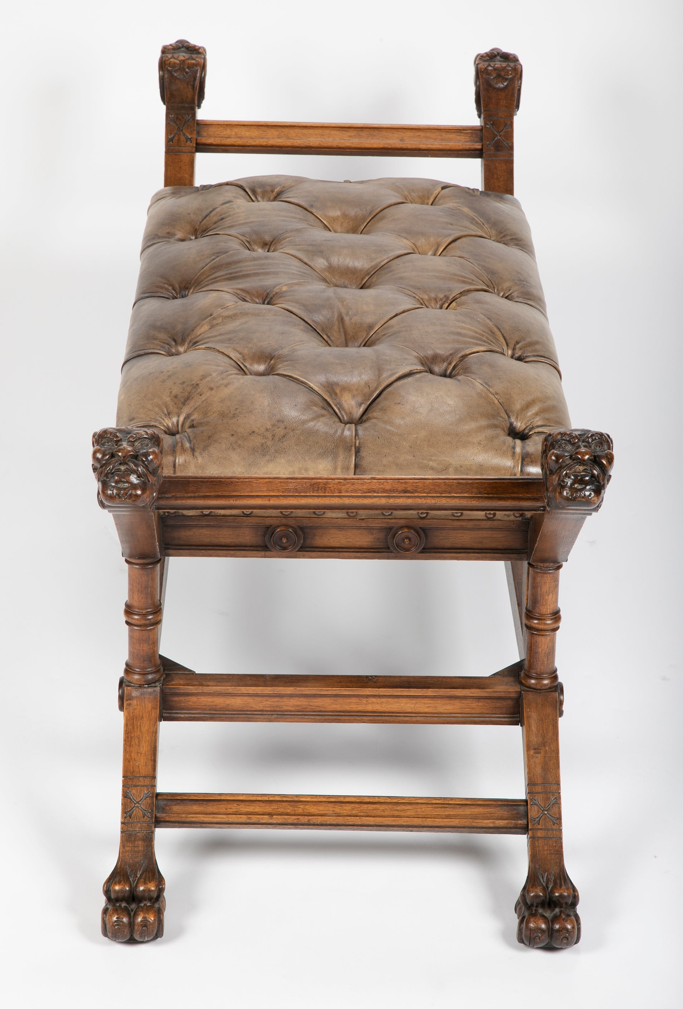 A Walnut  Banquette or Window Bench with Tufted Leather Seat