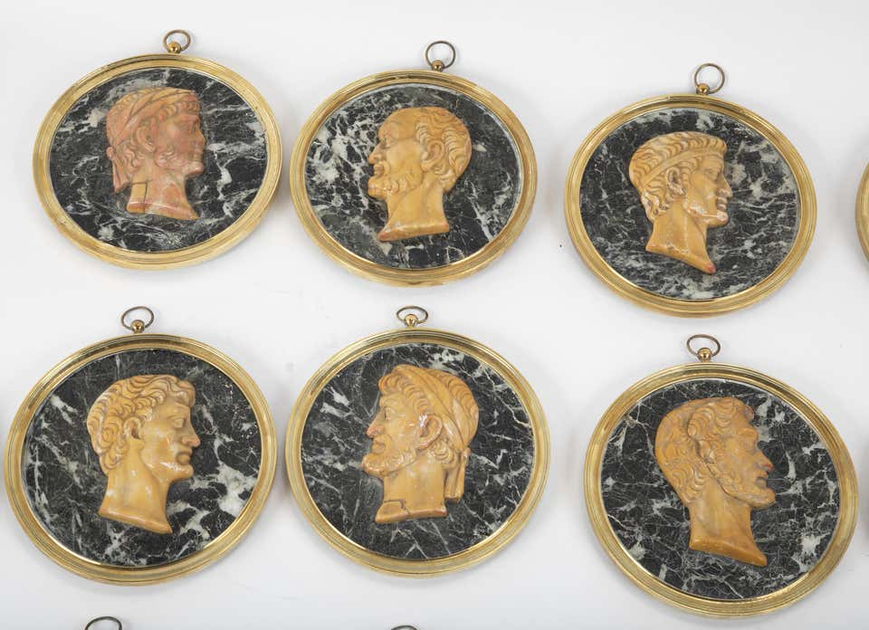 Set of Fourteen 19th Century Marble Profile Portraits of Roman Emperors