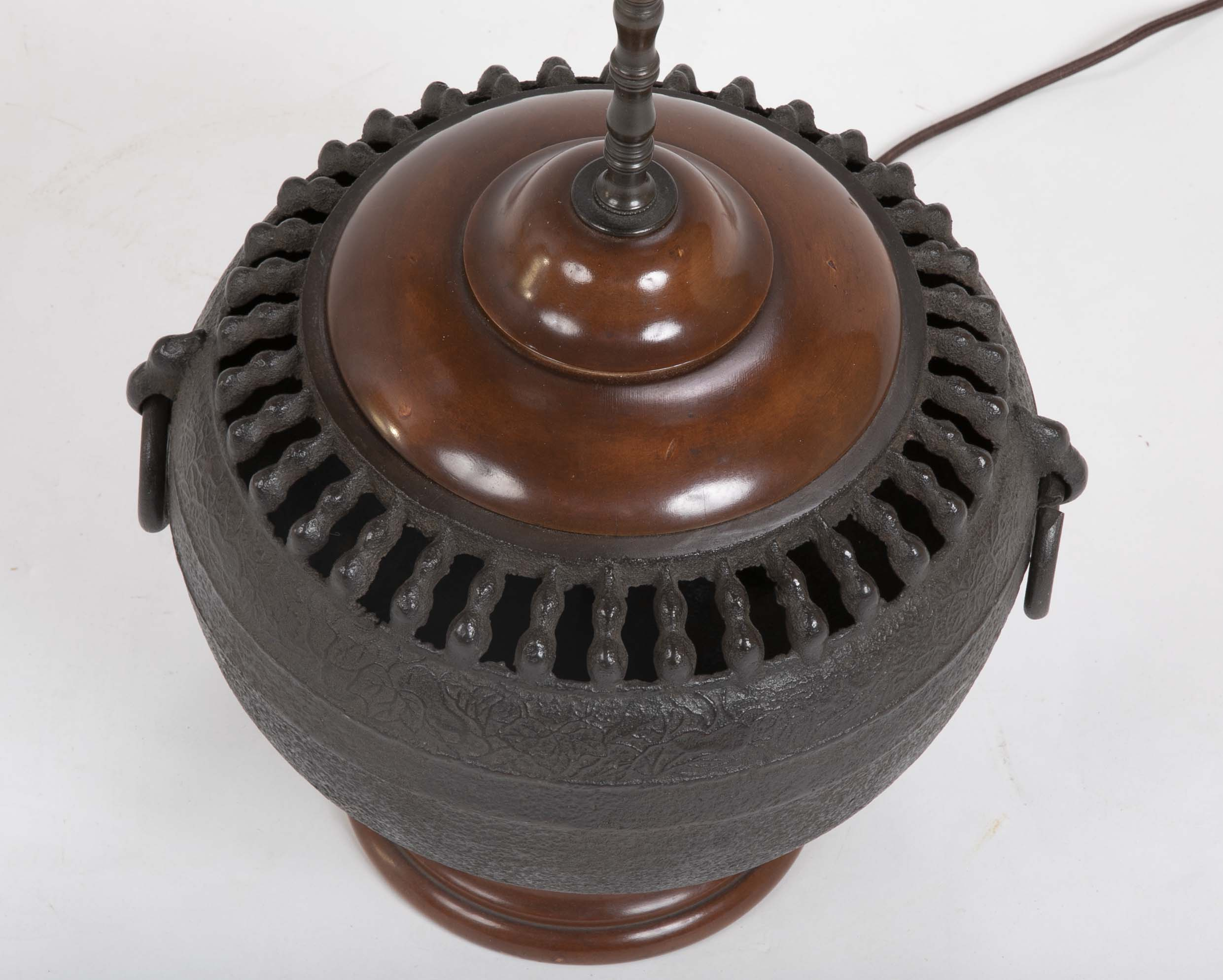 Japanese Cast Iron Hibachi now a Lamp