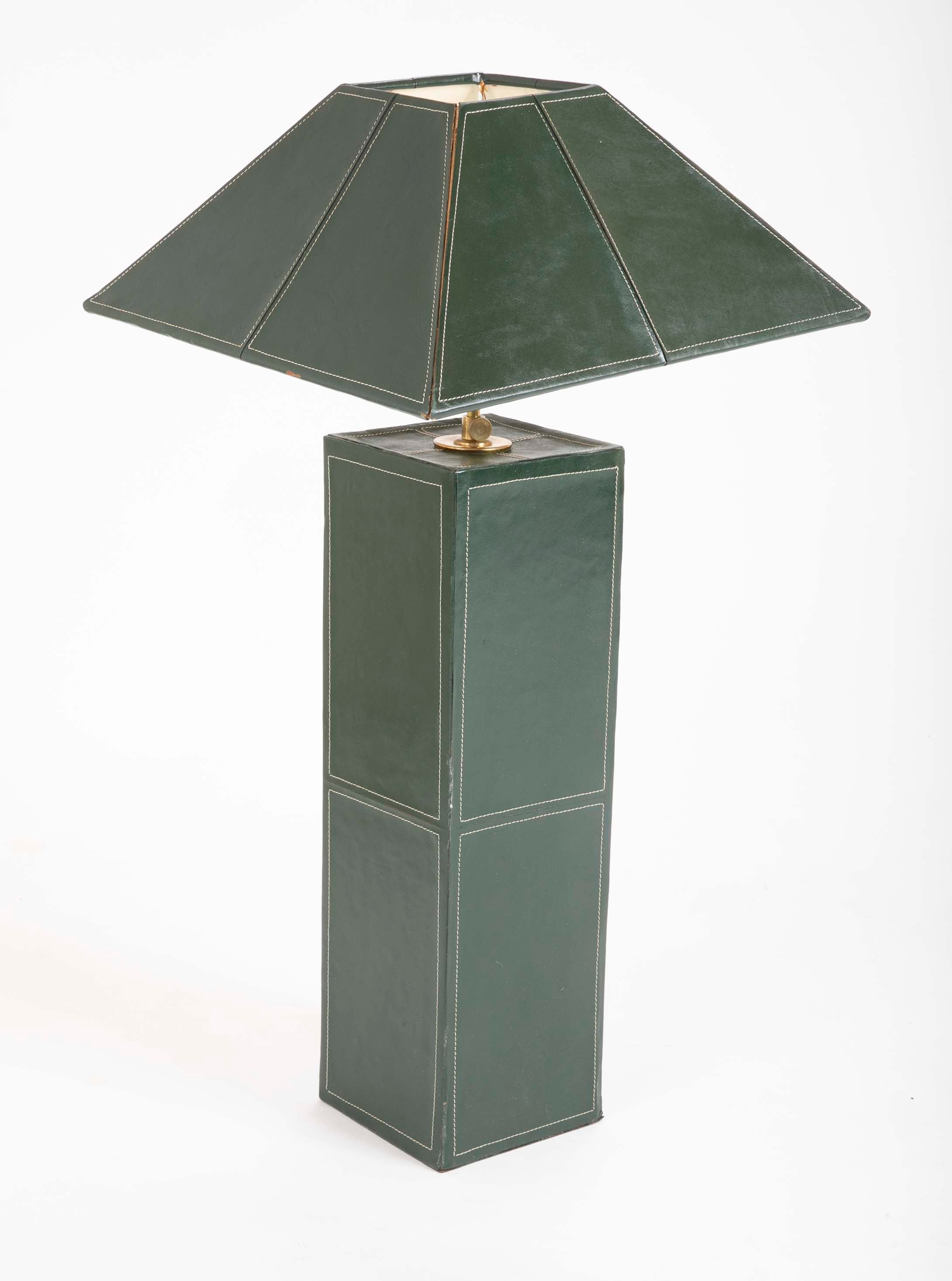 Pair of Leather Covered Lamps in the Manner of Jacques Adnet