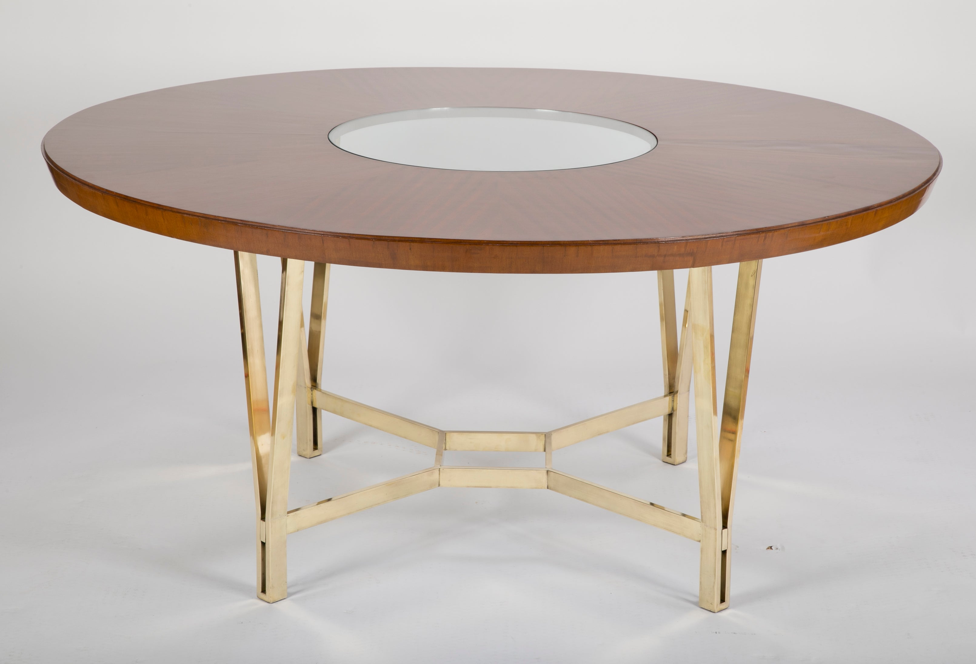Large Sapele Center Table on Polished Bronze Base.