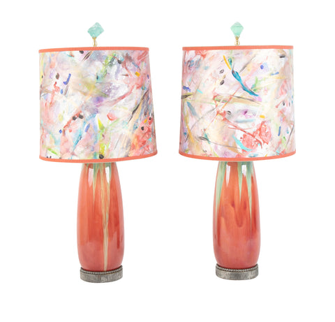 Pierre-Adrien Dalpayrat Pair of Glazed Stoneware Pottery Vases now Lamps