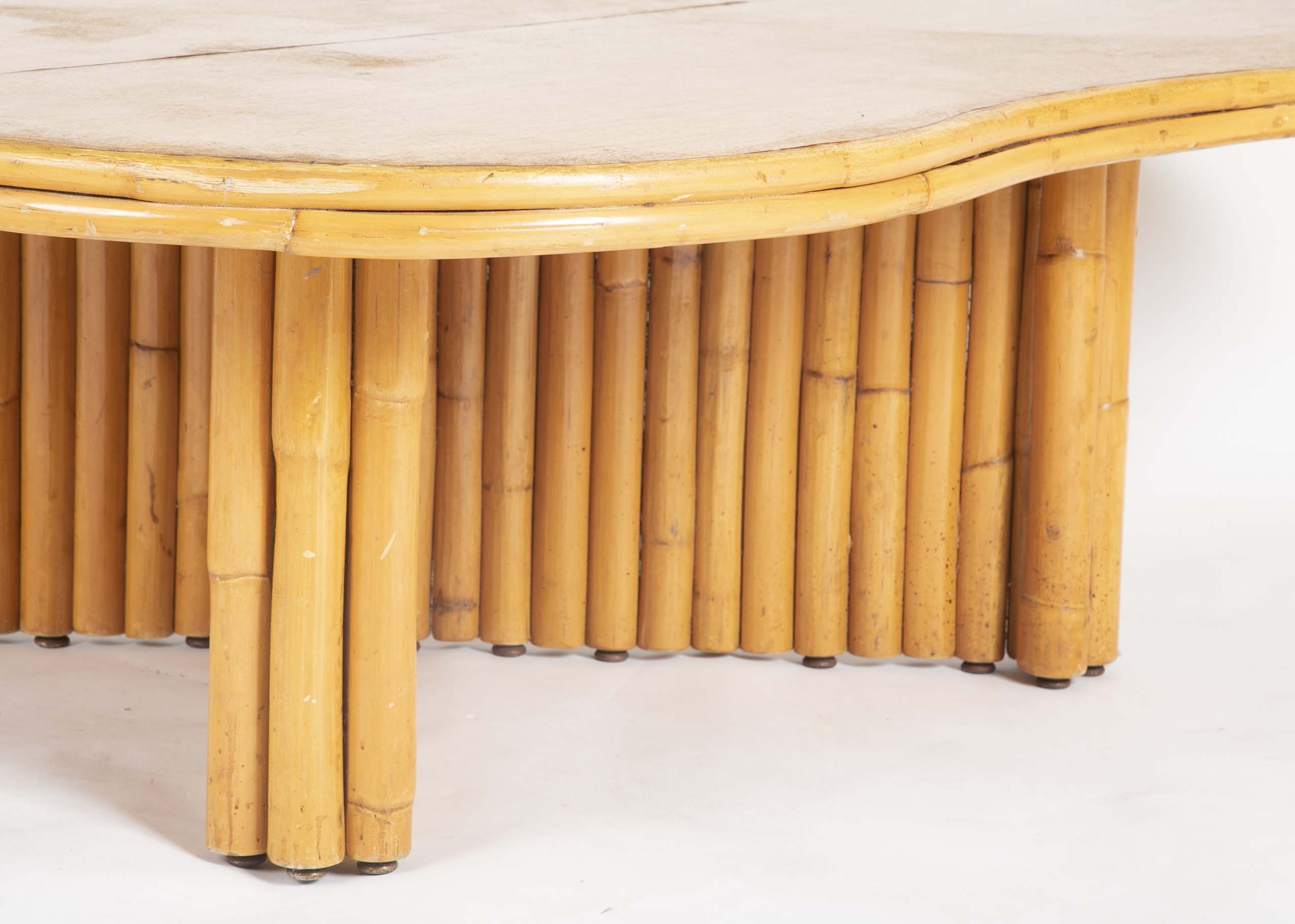 Rare Rattan Coffee Table Attributed to Paul Frankl