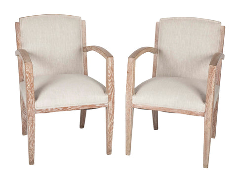 A Pair of French Cerused Armchairs With Belgian Linen